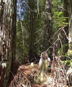 Wendy in circle of trees kneeling